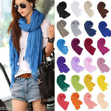Fashion Women Lady Pure Color Soft Long Crinkle Scarf Wraps Shawl Stole Scarves