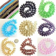 "12x8mm Crystal Faceted Rondelle Beads 15""Green Pink Crystal Blue Purple Crystal"