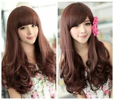Fashion Women's Lady Long Curly Wavy Brown Hair Full Wig Bang Cosplay Party+ Cap