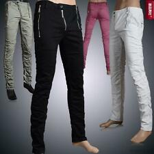 New Mens cotton Slim fit Trousers Fight Skin zipper Casual Jeans pencil Pants