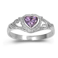 Sterling Silver Ring CZ Kids Heart Baby Amethyst Ladies size 1-5 Midi New  b80