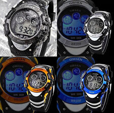OHSEN Colorful Waterproof Digital  Day Alarm Mens Military Sport Rubber Watch