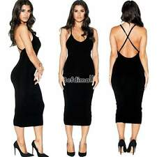 Women Backless V-Neck Cross Strap Evening Cocktail Party Pencil Dress Black BE0D