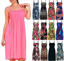 Ladies Floral Printed Mini Shirred Sundress Womens Strappy Cover Up Dress 8-18
