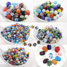 Wholesale 20/50Pcs Shining Mixed Shape Millefiori Glass Craft Beads Multi-Color