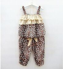New Baby Girls Children Leopard Clothing Set Sleeveless Top + Pants 2 Pcs/Outfit