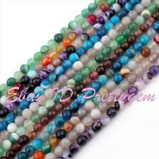 """6mm Round Faceted Stripe Agate Onyx Spacer Gemstone Beads Strand 15"""" Pick Color"""