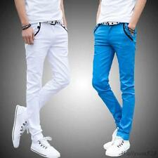 Stylish Mens slim fit trousers fight skin casual jean cotton pencil pants 28-44