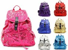 """Solid Sequin 14"""" Backpack Glitter Bling Book Bag Girls School Campus Tote Purse"""