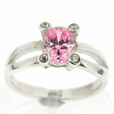 .925 Sterling Silver Pink & White CZ Ring