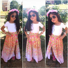 New Baby Girls Kids Clothing Set White T-Shirt + Long Floral Skirt 2 Pcs/Outfit