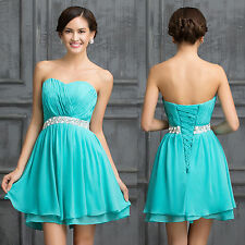 Turquoise Chiffon short prom dresses formal evening gowns Bridesmaids Mini Dress