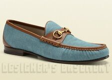 GUCCI mens* Leather trim Denim ROOS Horsebit ANNIVERSARY loafers shoes NIB Auth