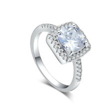 925 Sterling Silver cubic zirconia New Arrival Lady Wedding Ring size 6-10