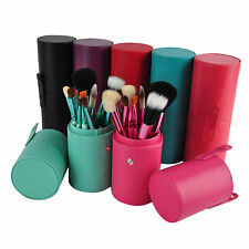 12 PCS Cosmetic Brushes Makeup Brush Set Make up Kit + Cup Leather Holder Case