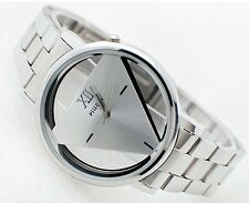 Fashion Men Women Watch Silver  Stainless Steel Triangle Dial Quartz Wrist Watch