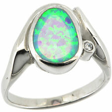 Sterling Silver Fire White Opal & White CZ Ring