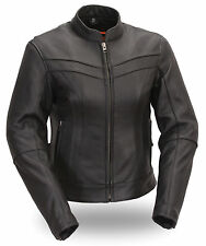 First MFG Women's Stylish Scooter Black Leather Motorcycle Jacket