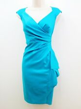 Maggy London Blue Turquoise Stretch Taffeta Cocktail Evening Ruched Dress NEW