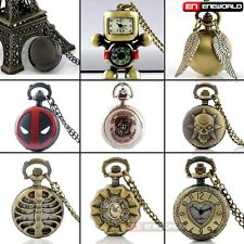 Vintage classic Small Pocket Watch Women mens gift Quartz Necklace Chain Hot UK