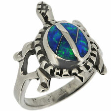 .925 Sterling Silver Synthetic Blue Opal Turtle Tortoise Ring