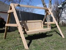 NEW ALL CEDAR SHORT A-FRAME SWING STAND WITH 4 FOOT TRADITIONAL PORCH SWING
