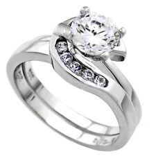Sterling Silver Wedding set size 9 CZ Round cut Engagement Ring Bridal New z21