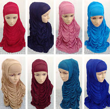 Hot 2 PCS Ice Silk Fold Muslim Islamic Hijab Shawls Long Scarf Headwear Amira