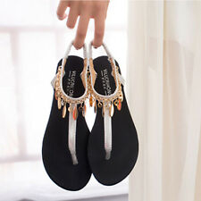 Women Sparkling Ankle Strap Flat Sandals Summer Shoes Beach  Elegant Slippers