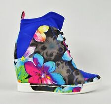Privileged Rowe Blue Floral Print Pull on Stretch Sneaker Wedge 6-11