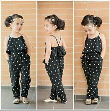 New Girls Children Kids Black Heart Love Pattern Jumpsuit Bodysuit With Belt