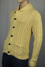 Polo Ralph Lauren Yellow Shawl Cardigan Leather Cashmere NWT $495