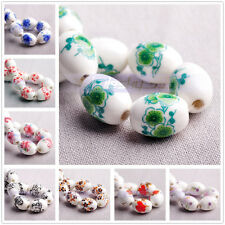 New 10pcs Flower Patterns Oval Ceramic Porcelain Charms Loose Spacer Beads
