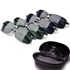 Mens HD Polarized Aviator Sunglasses Outdoor Driving Fishing Sun Glasses + Case