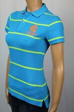 Ralph Lauren Blue Green Striped Skinny Fit Polo Shirt Neon Orange Crest NWT