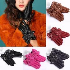 Women Soft PU Leather Gloves Girls Bow Rivets Evening Short Multi-function