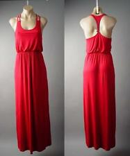 Red T-strap Racer Back Blouson Casual Lounge Jersey Long Maxi 145 mv Dress S M L