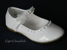 New Baby Toddler Girls White Dress Shoes Mary Jane Baptism Pageant Christening