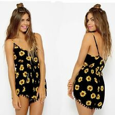 Women's Sexy Celeb Floral Print Playsuit Summer Ladies Shorts Jumpsuit+Gift