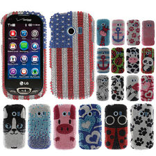 For LG Extravert 2 VN280 Ladybugs Crystal Bling Stone Hard Case Cover Accessory