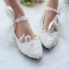 Flats Mary Janes Puttee Princess String Lace Block  Wedding Shoes