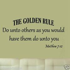 Do Unto Others Matthew 7:12 Bible Wall Quote Decal The Golden Rule Life Quote