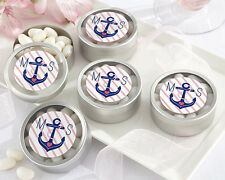 36 Personalized Nautical Bridal Shower Round Silver Candy Tins Wedding Favors