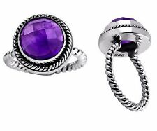 5ct. Round Purple Amethyst 925 Sterling Silver Twisted Band Ring Sz 6 7 8 nwt