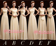 Champagne Formal Prom Evening Party dress Ballgown Long Bridesmaids dresses F541