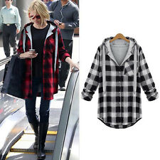 Casual New Women Coat Jacket Plaid Long Sleeve Warm Button Loose Outwear Hoodies