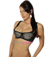 So Sexy Lingerie Lace & Satin Underwired Demi Cup Bra 34-44 D/DD Black/Nude