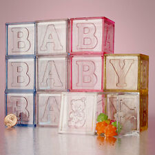 12 Baby Blocks Square Plastic Baby Shower Birthday Favor Boxes