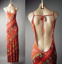 Rust Orange 70s African Desert Ikat Tribal Backless Long Maxi 147 mv Dress S M L