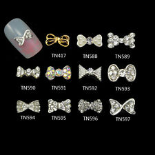 Blueness 10pcs Art Alloy Bow Styles Pearl Rhinestone Glitter Decoration TN417